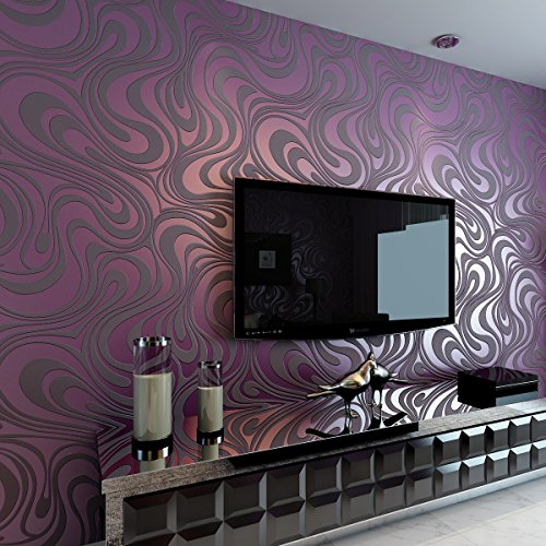 Hanmero Modern Abstrakt Fernseher Hintergrund Mustertapete Curve Vergolden Wandbild Beflockung Streifen Lila Tapete 0,7m*8,4m Wohnzimmer