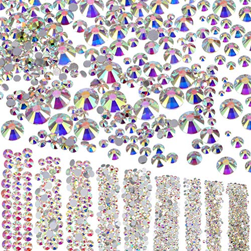 LuLyLu 3500 Stücke Flache Rückseite Strasssteine Gems 9 Größen (1,6 mm - 6,5 mm) Verzierungen...