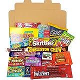 Cesta con American Candy | Caja de caramelos y Chucherias Americanas | Surtido de 21 artículos incluido Reeses, Skittles, Nerds, Hersheys| Golosinas para Navidad Reyes o para regalo