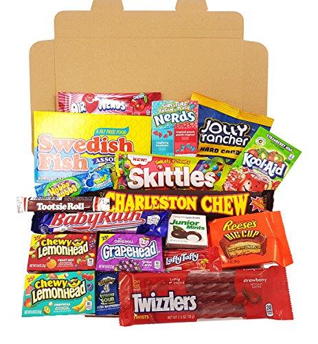American Candy Geschenkkorb | Retro Süßigkeiten und Schokolade Geschenkkorb | Auswahl beinhaltet Reeses, Skittles, Nerds, Hersheys, M&M's | 19 Produkte in einer tollen retro - Große Roll Tootsie