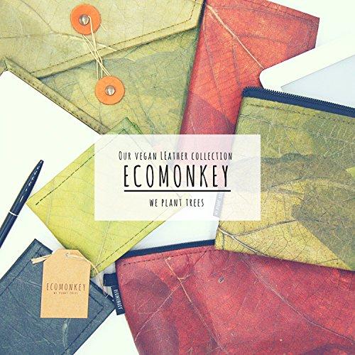 ECOMONKEY® ♻ Geldbörse vegan für Herren & Damen + klein & ohne Münzfach + veganes Leder (Kunstleder) aus Blättern + Slim Wallet + dünner Geldbeutel … (Grün) - 3