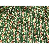 Homme Pain d'épice de Noël Imprimé à rayures en polycoton Vert Tissu de robe–au mètre