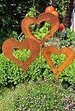 Bluemelhuber Gartenstecker Set Herzen 3 x 62cm Metall Rost Gartendeko Edelrost