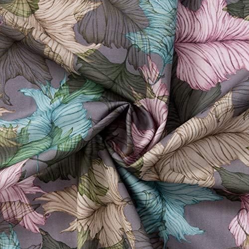 MIRABLAU DESIGN Stoffverkauf Baumwolle Gemustert, Bio Voile GOTS, Blaue, gelbe und grüne Blätter auf fliederfarbenem Grund (9-105M) 0,5m