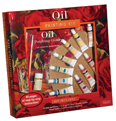 Oil Painting Kit [With 40-Page Guidebook and Wooden Palette/Palette Knife/Linseed Oil and 2 Paintbrushes and 10 Oil (Walter Foster Painting Kits) 40 Palette