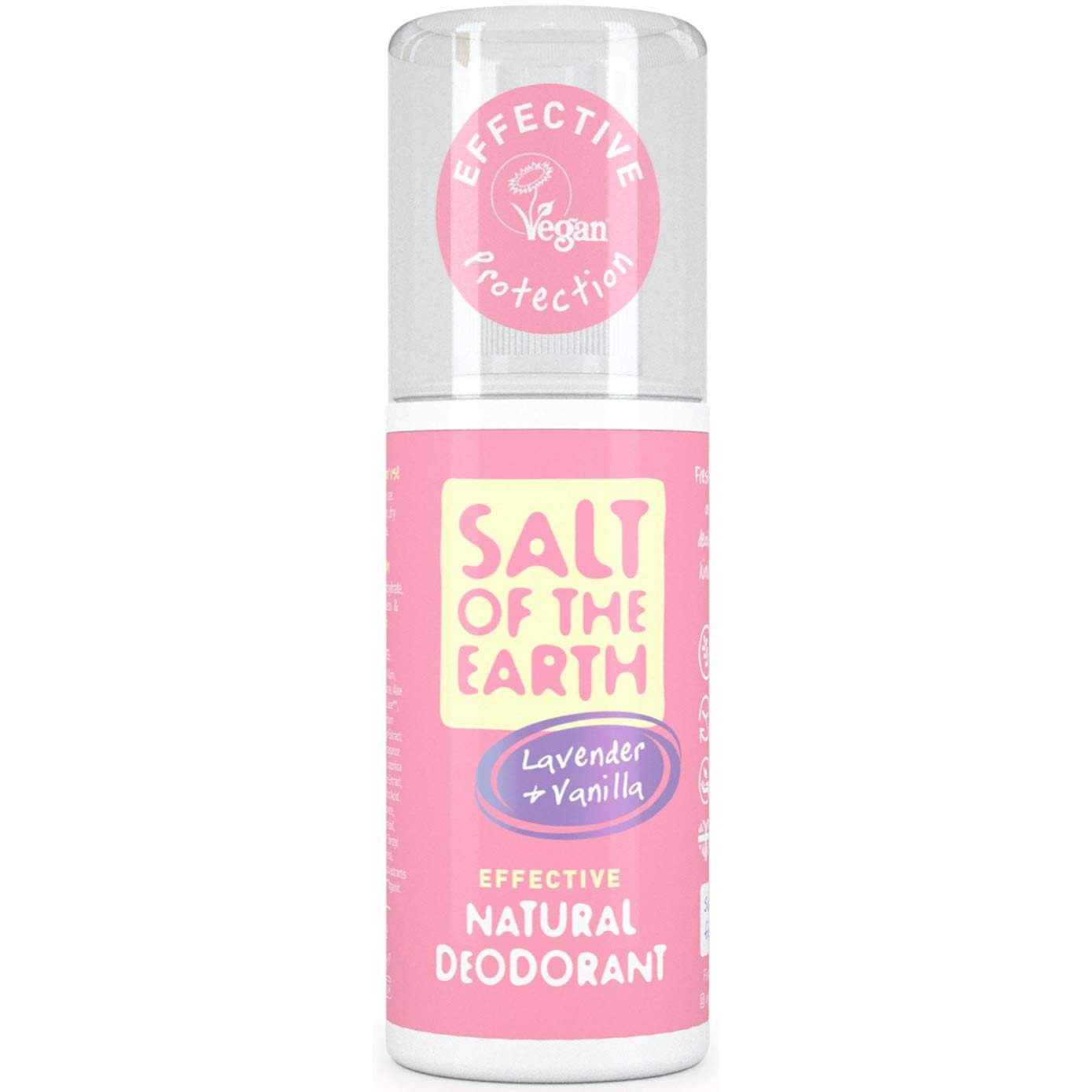 Natural Deodorant Spray by Salt of the Earth, Lavender & Vanilla – 100% Aluminium Free Deodorant, Vegan, Long Lasting Protection, Not Tested on Animals, Paraben Free, Made in the UK – 100ml