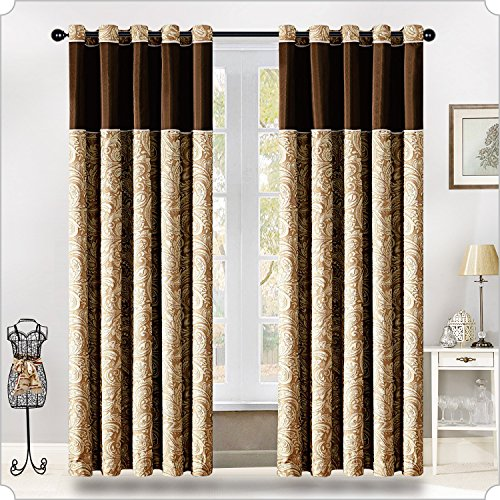 Moonlight20015 Medison Ring Top Curtains/Eyelet Tape Window Treatment Window Blind Paisley Jacquard Fully Lined Pair Curtains for Living Room + 2 Free Tie Backs (Brown & Cream, 90″x90″(228×228))