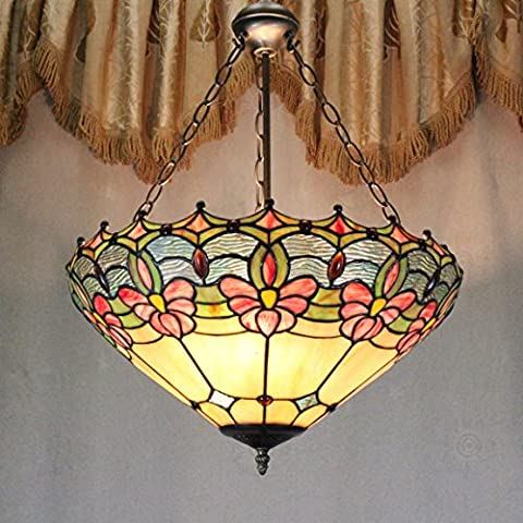 Vintage Européenne Pastorale Tiffany Style 16-Inch Main Stained Glass Pendant Lamp Salle Lumineuse