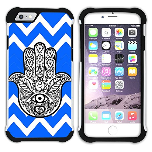 Graphic4You Hamsa Hand der Fatima Winkel Muster (Wasserblau) Hart + Weiche Kratzfeste Hülle Case Schale Tasche Schutzhülle für Apple iPhone 6 / 6S Königsblau