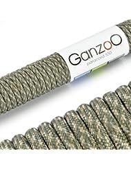 Ganzoo - Cuerda de supervivencia (nailon, longitud 31 m, 250 kg), color verde y beige