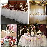 Hihoddy Falda de Mesa Tutú de tul de Mesa Gamuza de Mesa - para Bodas, Navidad, Fiestas, Bautizos, Cumpleaños, Decoración del hogar 31x108 inch.