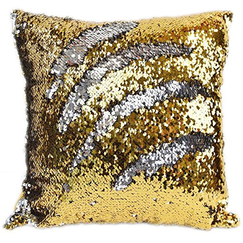 Kartik Sequin Mermaid Throw Pillow Cover with Magical Color Changing Reversible Paulette Design Decor Cushion Pillowcase Set of 1 - (16x16 Inches)- Silver & Golden