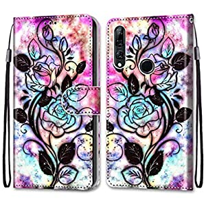 Nadoli Colorful Wallet Case for Huawei P Smart Z,Cool Funny Animal Floral Butterfly Creative Design Pu Leather Magnetic Flip Cover with Card Slots and Wrist Strap   1