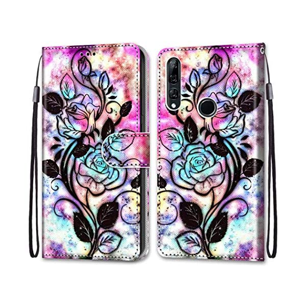 Nadoli Colorful Wallet Case for Huawei P Smart Z,Cool Funny Animal Floral Butterfly Creative Design Pu Leather Magnetic Flip Cover with Card Slots and Wrist Strap Nadoli Only Compatible for Huawei P Smart Z Material: PU Leather + Tpu,Convenient and practical stand design,you can read,watch movies,liberate your hands more efficient work Anti Dust,Anti-Fall, 360 degree protective your mobile phone.convenient for carrying 1