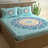 #10: Divine Casa Paisley Ethnic 100% Cotton Double Bedsheet with 2 Pillow Covers, Turquoise Blue