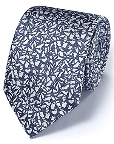 Mid Blue Silk Classic Abstract Texture Tie by Charles
