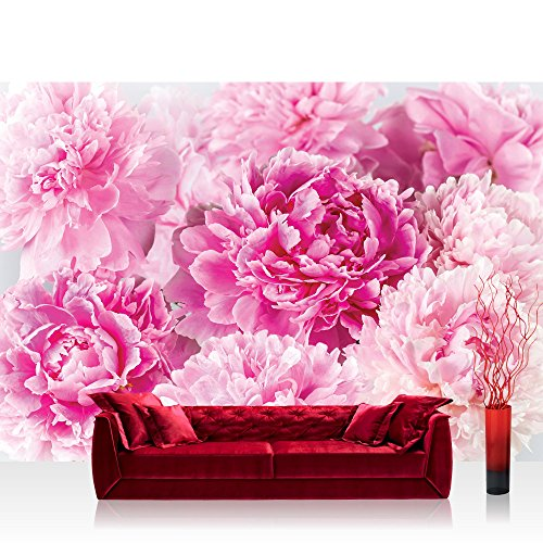 Papel Pintado Fotográfico Premium Plus fotográfico pintado-cuadro de pared-Flores pintado flores rosas Posies Primavera Rosa-No. 2259, Fucsia, Fototapete 368x254cm | PREMIUM Blue Back