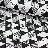 Stoff Baumwollstoff Popeline Misty Diamonds Dreiecke
