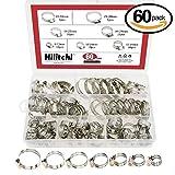 hilitchi 60Stück verstellbar 8–38mm Range Edelstahl Worm Gear Schlauchschellen Sortiment Kit