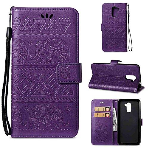 pinlu Funda para Huawei Y7/Y7 Prime Alta Calidad Función de Plegado Flip Wallet Case Cover Carcasa Piel PU Billetera Soporte con Ranuras Elefantes Púrpura