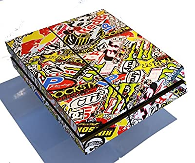 Full Sticker Bomb Console Skin Wrap Cover + 2 x Controller Wrap Stickers for PS4 Playstation 4 by Ellis Graphix by Ellis Graphix
