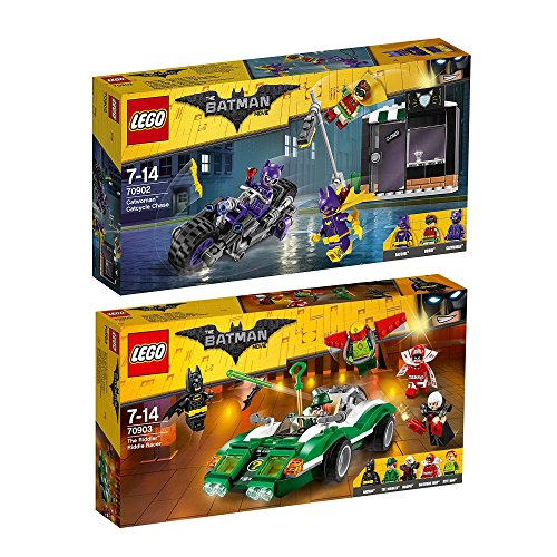 Batman Lego 2 Joker (The Lego Batman Movie 2er Set 70902 70903 Catwoman Catcycle-Verfolgungsjagd + The Riddler Riddle Racer)