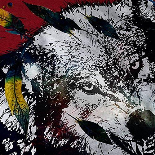 Wolf Feder Gesicht Tier schaurig Tier Damen S-2XL Muskelshirt   Wellcoda Rot