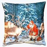 Weihnachten Kissenhülle Fotodruck nostalgisch 40 x 40 cm kuschelig weiche Velour Qualität Weihnachtsdeko Rentiere und Nikolaus Kissen Ökotex Typ480
