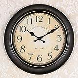 OLILEIOContinental Retro moderne, minimalistische kreative Persönlichkeit Mute Armbanduhr Quarzuhr amerikanische Schlafzimmer Wohnzimmer Uhr Second Hand (14 Zoll, 16-Zoll) 14-Zoll, 15 Kurzwahleinträge