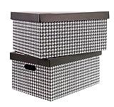 Aufbewahrungs-Box Aufbewahrungsbox aus Pappe Im 2er Set in verschiedenen Farben (37 x 27 x 22 cm, 2er Set Hahnentritt)