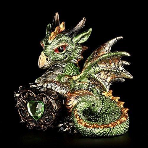 Kleine grüne Drachen Figur | Malachite mit Acryl-Herz | Fantasy Deko Drachenfigur