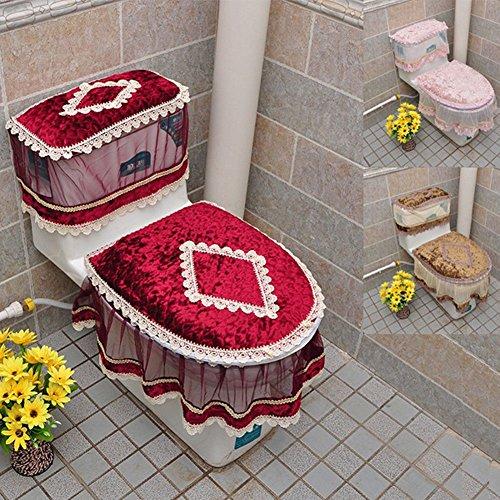 Zantec 3PCS Toiletten Set, Flanell Cashmere Spitze Printed Home Dekoration, = Wassertank Abdeckung + WC Deckel Sitz + Toilettensitz (Schwarz Chevron Duschvorhang Set)