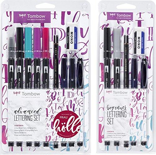 """Tombow LS-ADV Lettering Set """"Advanced"""" 9 Stifte + Radierer, inkl. Anleitung + Lettering Set """"Beginner"""" 5 Stifte mit Radierer designed von Frau Hölle"""