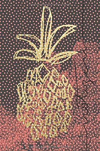 Notizen: gepunktetes Notizheft Ananas grau/coral/gold - Skizzenbuch - Ideenbuch - Dot Grid Journal - 120 Seiten - ca. DIN A5 - Bling Dots