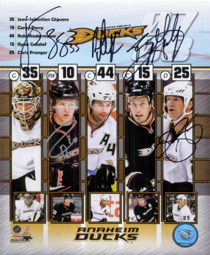 Signed Ducks, Anaheim (2007-08) 8x10 Photo By Jean-Sebastien Giguere, Corey Perry, Rob Niedermayer, Ryan Getzlaf and Chris Pronger autographed