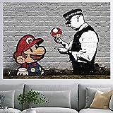 murando - Designer Poster XXL 140x100 cm - beidseitig laminiert - Plakat - Anschlag - Wanddekoration - Reiss- & wischfest - Wohnzimmer Schlafzimmer Kinderzimmer Büro - Banksy Mario i-B-0053-af-a