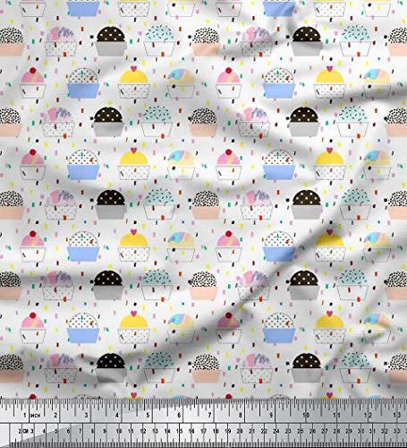 Soimoi Weiß Samt Stoff Cupcakes Lebensmittel Stoff Drucke Meter 58 Zoll breit