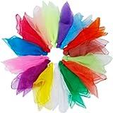 Rovtop 15Pcs Dance Scarves, Muti-color Square Juggling Silk Dance Scarves Magic Tricks Performance Props Accessories…