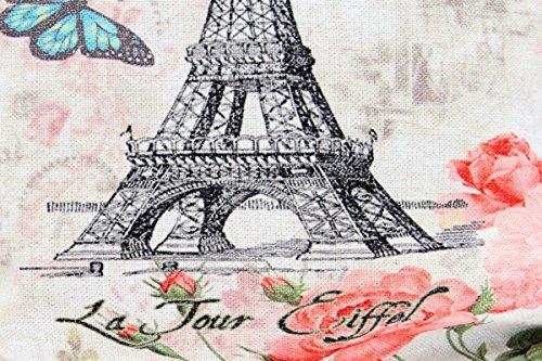 Kissenbezug Molly 40x40cm Sofa Kissenhülle Eifelturm Paris Rosen La Tour Eiffel Shabby Vintage French Chic alte Schrift Nostalgie Kissen Dekokissen - 2
