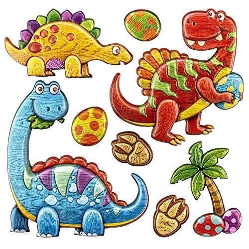 Ideen mit Herz Bunte Aufkleber in Holz-Optik, Dinosaurier, 18x17,5cm | Wand-Aufkleber, Relief-Sticker, Puffy-Sticker in fröhlichen Farben für Kinder
