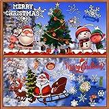 BUONDAC 2 Rolle / 2 Muster Fensteraufkleber Selbstklebend Weihnachten Fensterbilder Fenstersticker Winter Fenstertattoo Fensterdeko Fensterschmuck Weihnachtsdeko Aufkleber Fenster Sticker (Bunt)