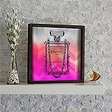 LaModaHome Home Decor 100% Kiefer Holz gerahmt Art Wand (33,8x 33,8cm) Chanel Paris Geruch Beauty Parfüm Niedlichen Bereit Zum Aufhängen 3,6cm Stärke Tolles Geschenk für Haus