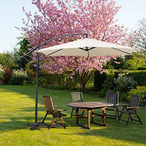Hengda® Parasol Parasol de jardin pare-soleil 3.0m Beige UV protectio Anti-Vent parapluie-étanche Suspendu parapluie-étanche Jardin Extérieur Plage Inclinable