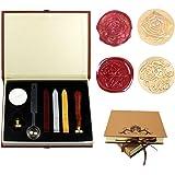 Dsaren Sceaux pour Cachet Rétro Kit de Cire Timbre Lettre avec 2 Laiton Cachet Sceau Cuillère à Cire Coffret Cadeau (Pour vou