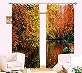 H&M Gardinen Vorhang Herbst-Fluss ein warmes Schatten Tuch UV-Druck 3D-hein Schlafzimmerfenster Vorhängen dekoriert fertig , wide 3.2x high 2.7