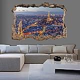 murando - 3D WANDILLUSION 210x150 cm Wandbild - Fototapete - Poster XXL - Loch 3D - Vlies Leinwand - Panorama Bilder - Dekoration - Stadt Paris d-C-0058-t-a