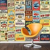 """Walplus Stickers muraux 152x 161cm Stickers Muraux """"Signe en métal style vintage Collage 1amovible en vinyle autocollant murale Art Stickers Décoration DIY Salon Chambre Décor Papier Peint, papier Multicolore"""