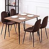 GOLDFAN Table à Manger avec 4 Chaises Rétro Rectangulaire Table de Salle à Manger en Bois Table de Cuisine Chaise en Velours