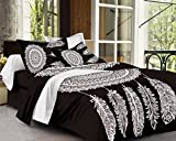 SheetKart Traditional DreamCatcher Mandala Cotton Double Bedsheet with 2 Pillow Covers - Black and White