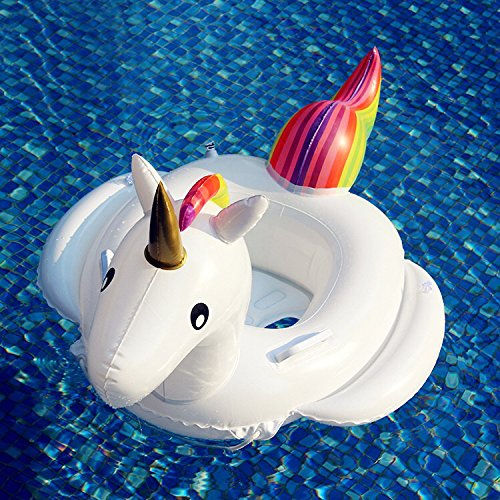 KIDS UNICORN INFLATABLE SWIMMING FLOAT POOL LOUNGERS NIñOS PISCINA AL AIRE LIBRE TOY BABY SEAT BOAT (74X 72X 70 CM)